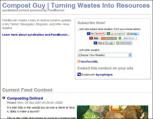Feed Page for Red Worm Composting