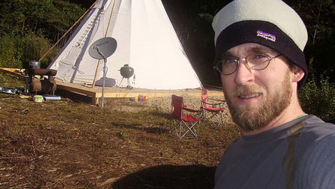 Shea Gunther in front of his Tepee